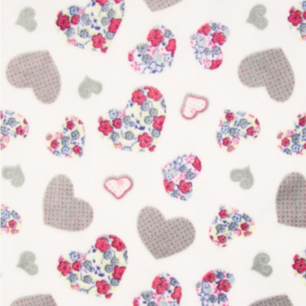 Microfleece Herzen weiß-grau-pink geblümt