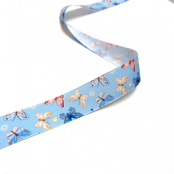 Ripsband Schmetterling hellblau 25mm breit