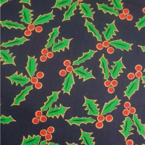 Weihnachtsstoff Ilex dunkelblau