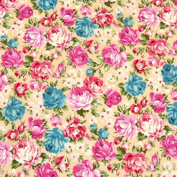 Baumwollwebware Rosen pink & hellblau auf zartrosa