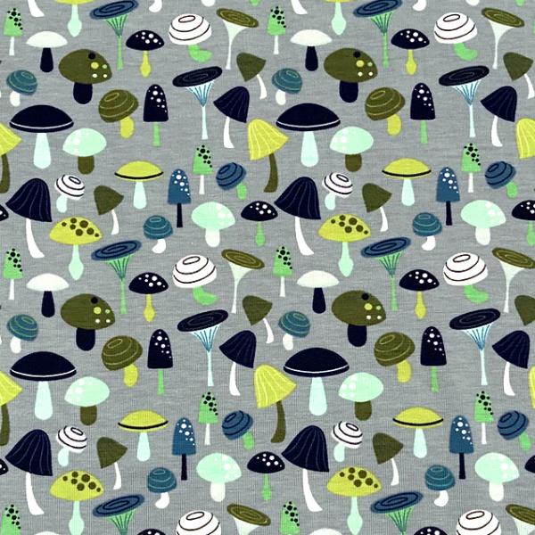 Jersey Pilze grau/ mint-grün