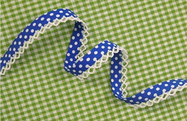 5m Schrägband Punkte mit Häkelborte royalblau (28)