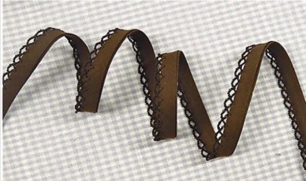 5m Schrägband uni mit Häkelborte braun (41)
