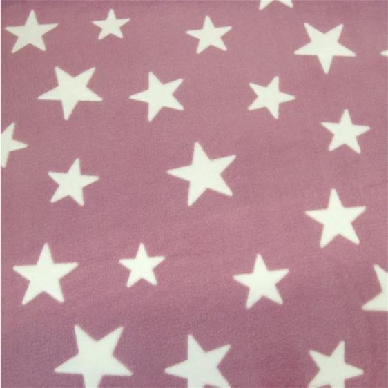 Microfleece Sterne beere-weiß, Wellnessfleece