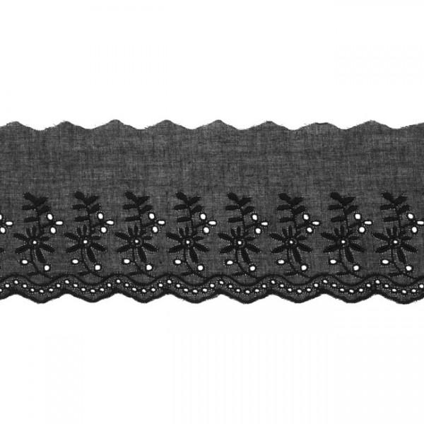 """Stickerei-Spitzenborte """"Blümchen"""", 9cm, schwarz(73)"""