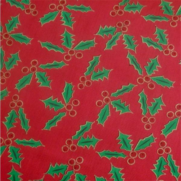 Weihnachtsstoff Ilex rot