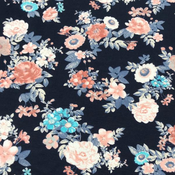 Jersey Blumen rosa & türkis dunkelblau