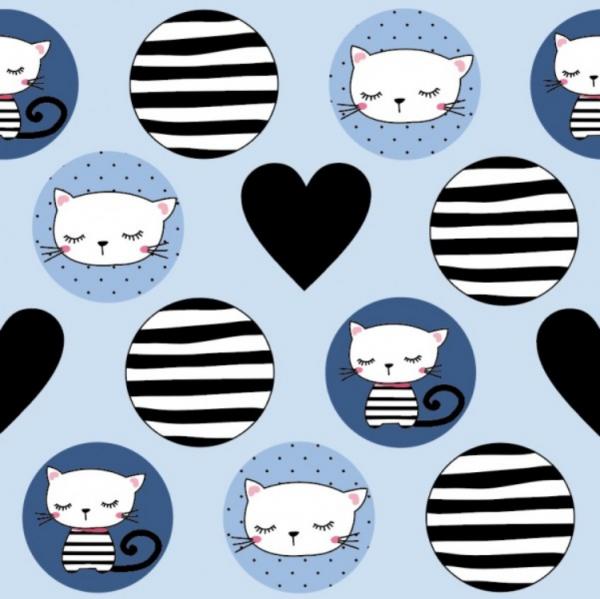Jersey Katzen Kreise - Herzen hellblau