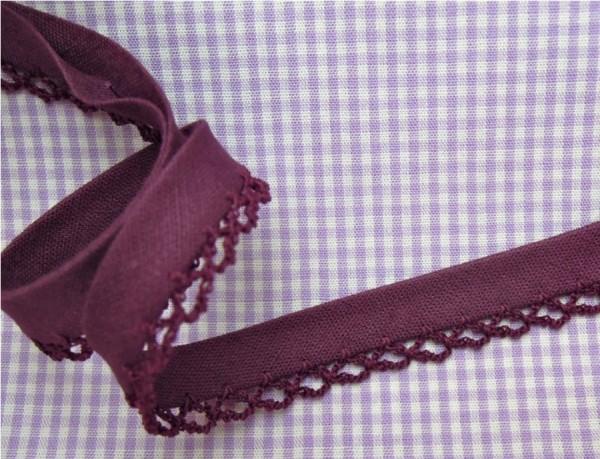 5m Schrägband uni mit Häkelborte dunkelrot (48)