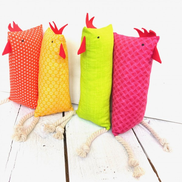 Nähset Lange Hühner pink/orange/gelb/grün