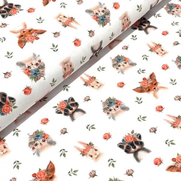 Jersey Waldtiere und Rosen auf weiß Digitaldruck