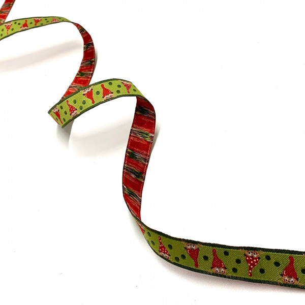 Webband Zwerge grün, ca.16mm breit