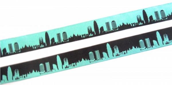 Webband Barcelona türkis-schwarz, 18mm breit