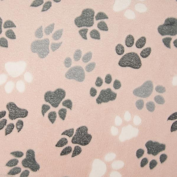 Micro-Fleece Pfoten rosa Motivgröße Pfote ca. 6cm