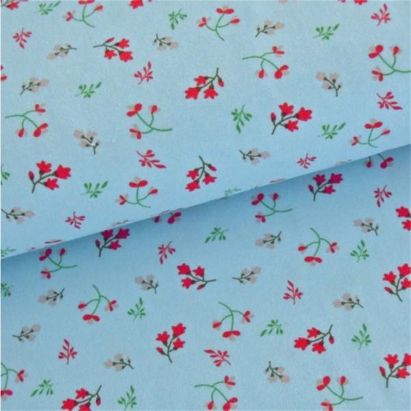 Jersey Blumen und Zweige hellblau