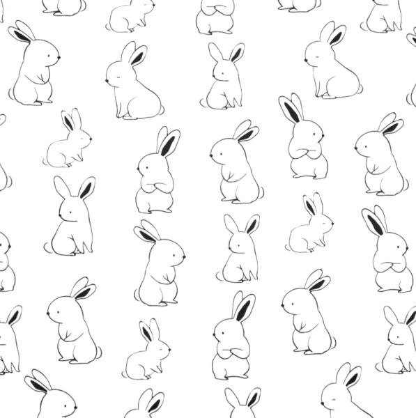 Stoff BW Hasen weiß-schwarz