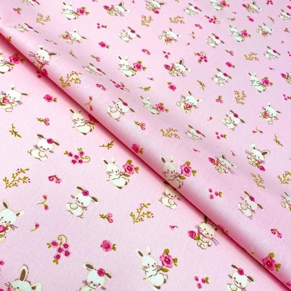 Hase und Blume rosa 100% BW