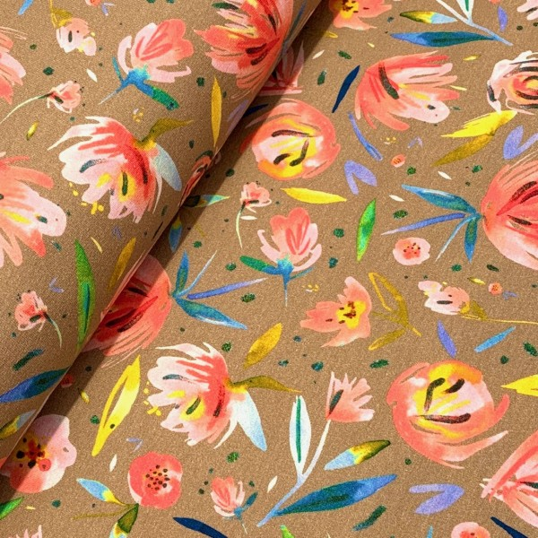 French Terry aquarell Rosen beige