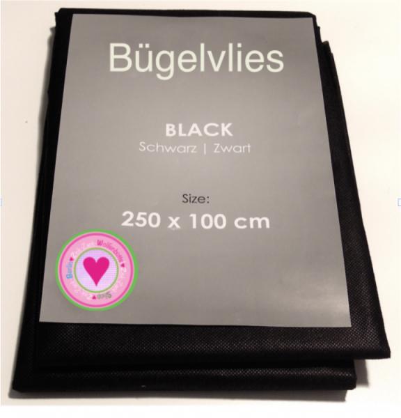 Bügelvlies schwarz 250x100cm