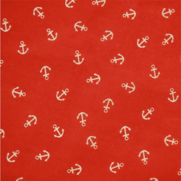 Patchworkstoff Anker auf rot