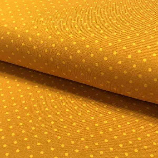 Jersey Punkte senf-gelb 034 Motivgröße Punkt ca. 3mm