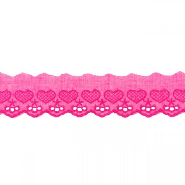 """Stickerei-Spitzenborte """"Herz"""", 5cm, pink(50)"""