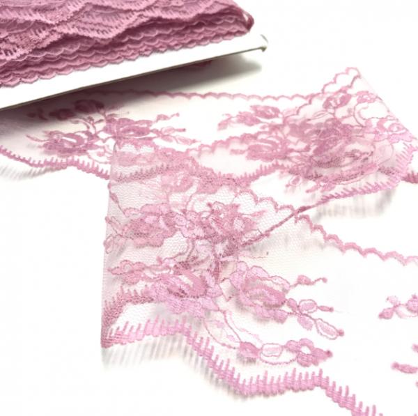 """Spitzenborte """"Rosen"""" rosa, 70mm"""