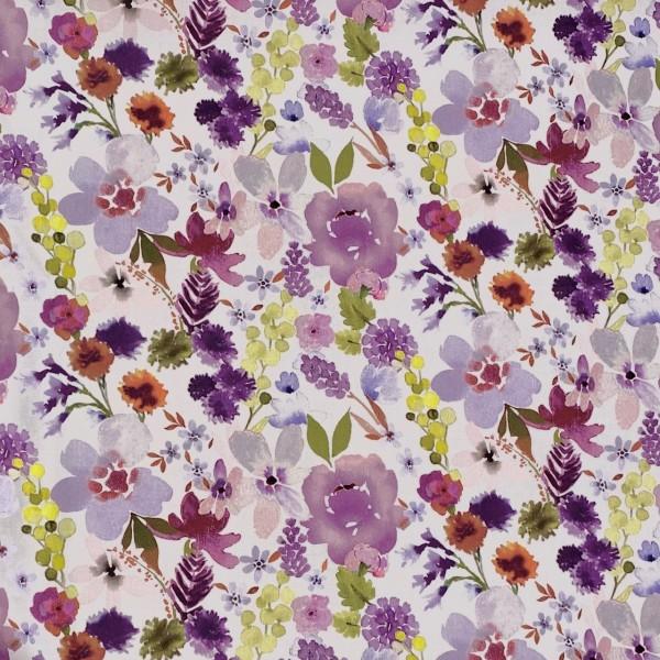 Aquarell-Blumen Baumwollsatin