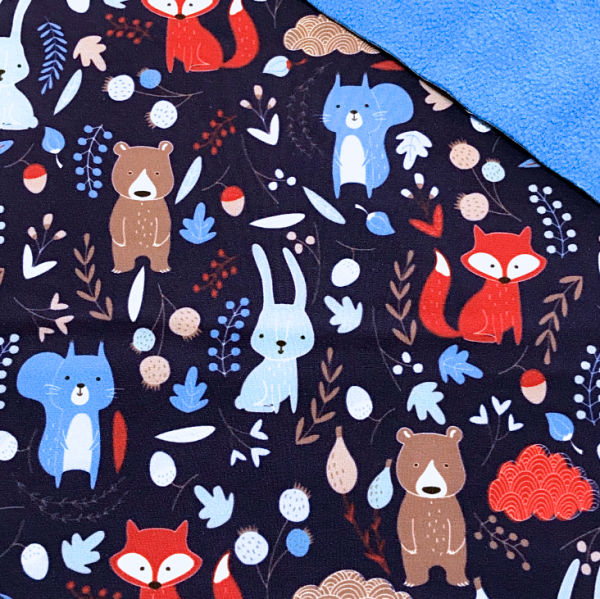 Softshell Waldtiere dunkelblau - Fleece-Rückseite in türkis