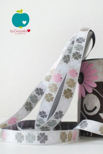 Webband Graziela Kleeblätter grau-rosa