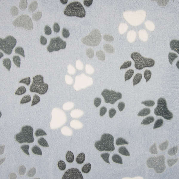 Micro-Fleece Pfoten hellblau Motivgröße Pfote ca. 6cm