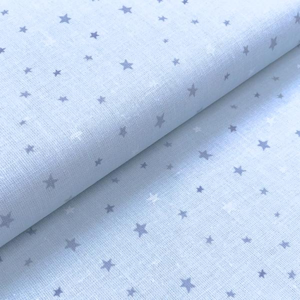 Stoff BW Mini-Sterne hellblau-mittelblau