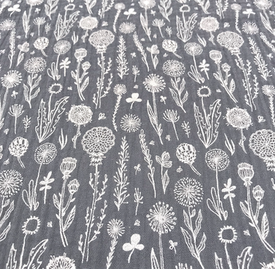 Musselin Wiesenblume grau