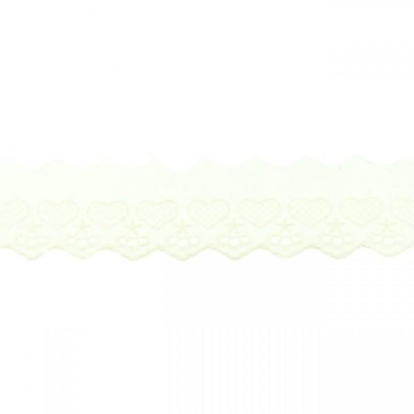 """Stickerei-Spitzenborte """"Herz"""", 5cm, offwhite(55)"""