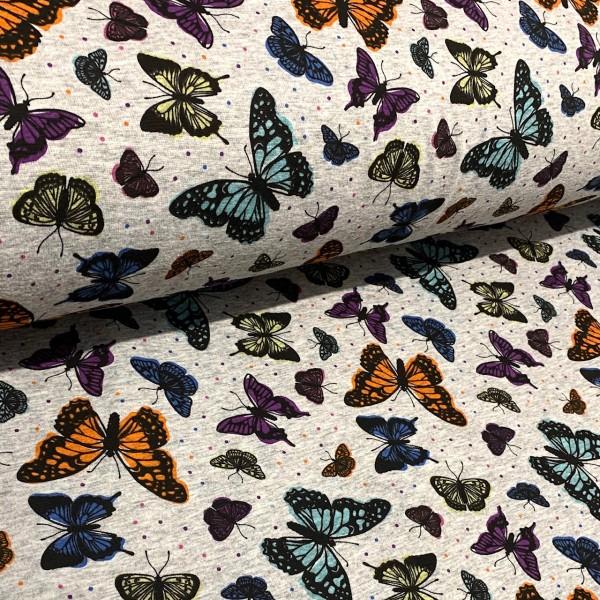 Alpen-Fleece Schmetterlinge hellgrau meliert