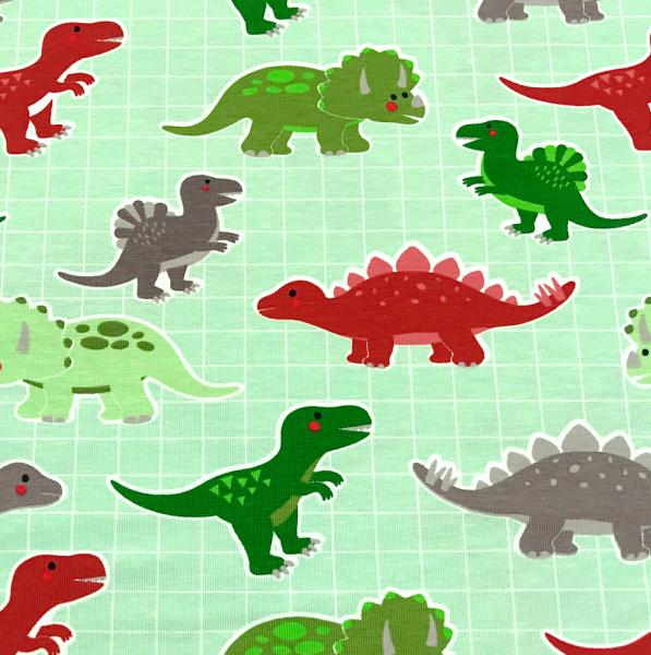Jersey Dinos auf Raster mint-grün Dinosaurier