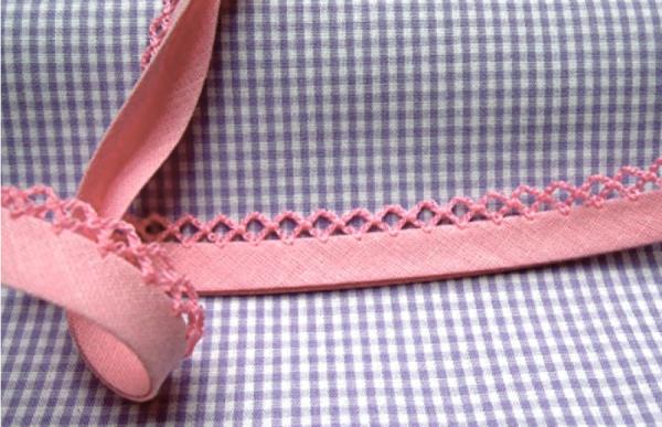 5m Schrägband uni mit Häkelborte zartrosa (31)