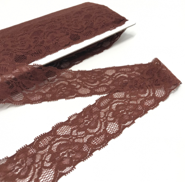 Elastische Spitzenborte braun, 50mm breit