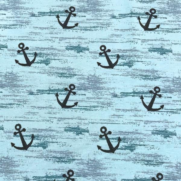 Jersey große Anker auf aqua/ hellblau - melange