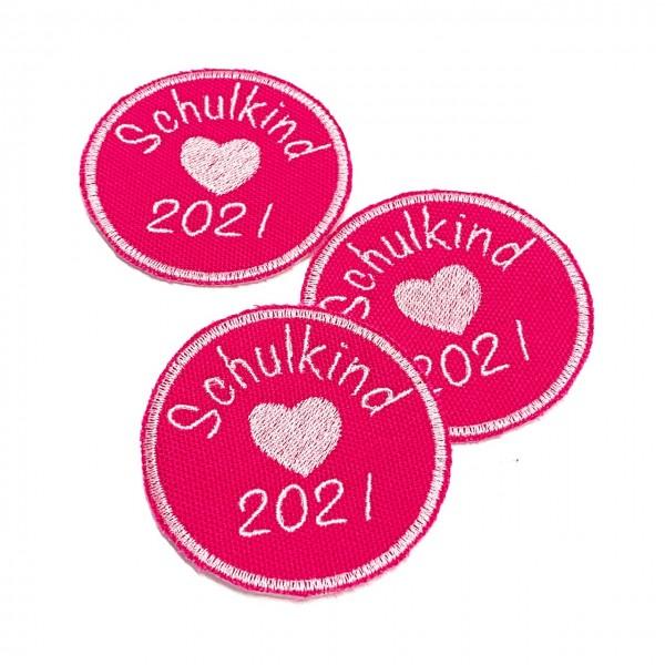 Schulkind 2021 rund in Pink Bügel-Applikation