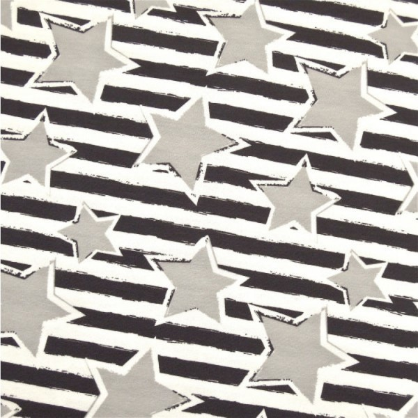 Jersey Sterne auf RIngel grau