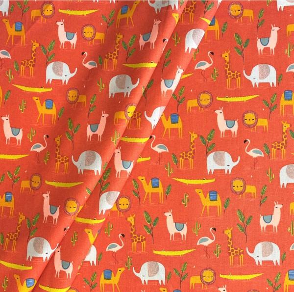 Zoo-Tiere auf orange 100% BW