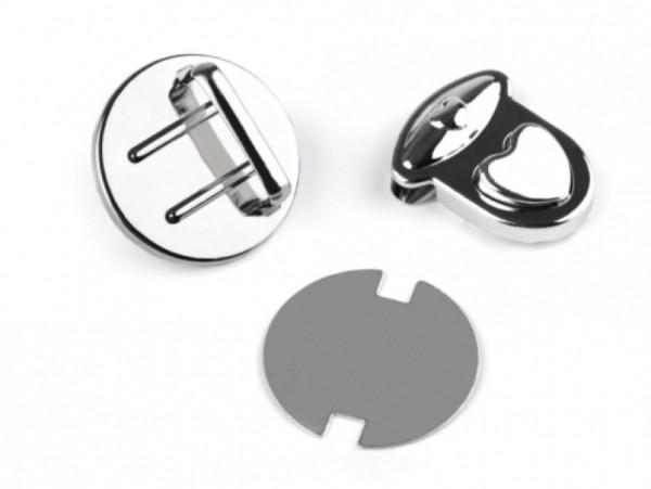 Taschenverschluss 30x32 mm Herz (besteht aus 3 Teilen)