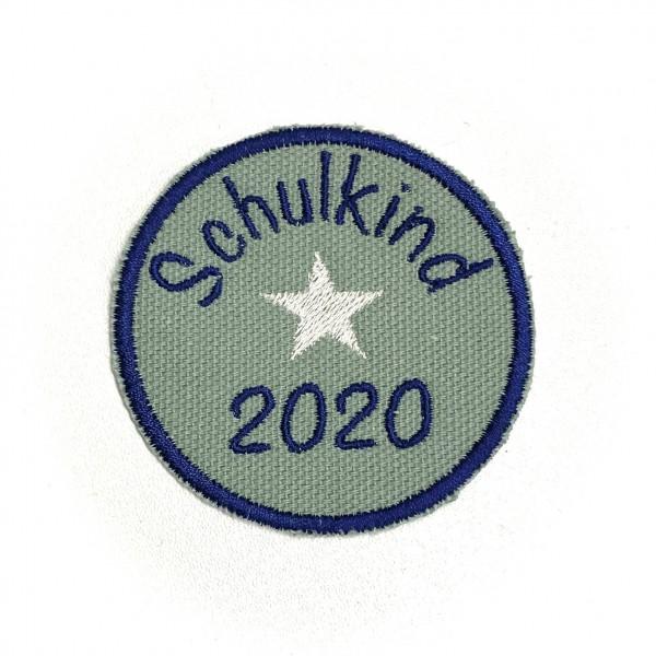 Schulkind 2020 rund in Petrol Bügel-Applikation