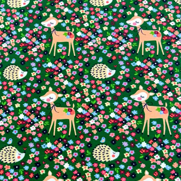 Jersey Igel & süßes Reh im Blumenmeer dunkelgrün