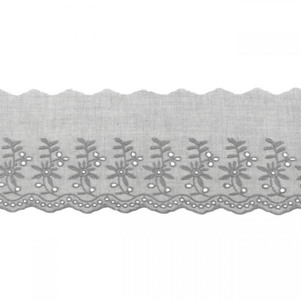 "Stickerei-Spitzenborte ""Blümchen"", 9cm, grau(72)"
