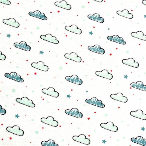 Jersey kleine Wolken & Sterne weiß