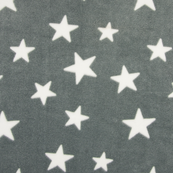 Microfleece Sterne hellgrau-weiß 972, Wellnessfleece