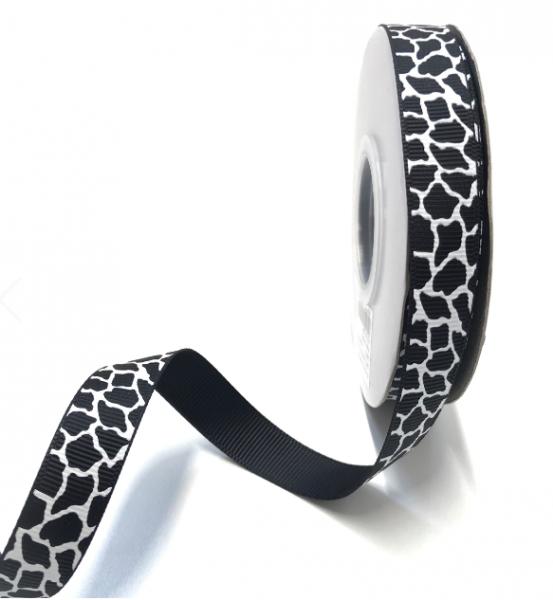 Ripsband gefleckt schwarz-weiß