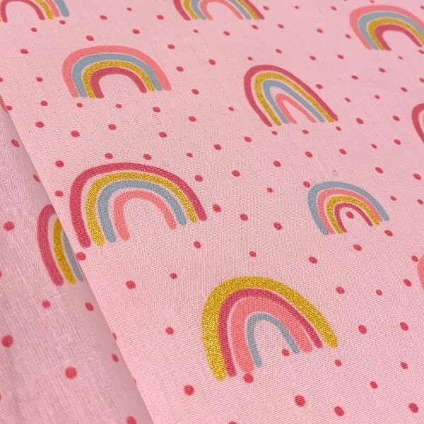 Regenbogen auf rosa mit Glitzerpartikeln 100%BW